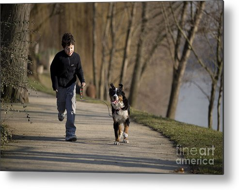 Bernese Mountain Dog Metal Print featuring the photograph Boy Running With Dog by Jean-Michel Labat