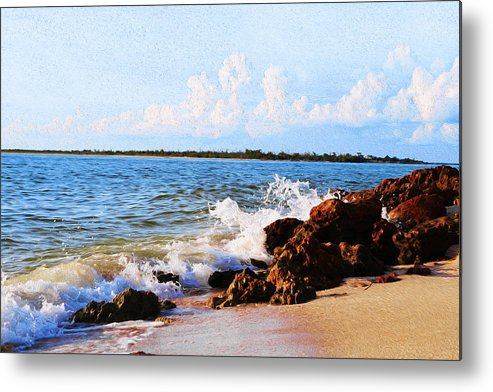 Rocks Metal Print featuring the painting Braking Waves by Alexandra Pollett