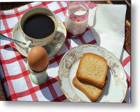 Metal Print featuring the photograph Breakfast On A Table by Blanchi Costela
