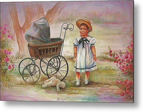 Bridget Was Not Happy When Mom Asked Her To Put Teddy In The Carriage Metal Print featuring the painting Bridget by Patricia Schneider Mitchell