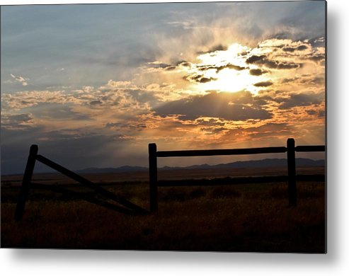Landscape Metal Print featuring the photograph Broken Fence by Stephanie Beller