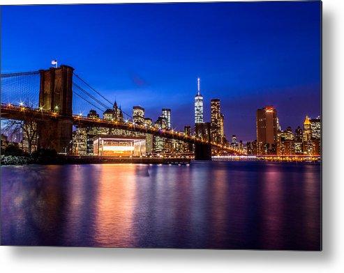 Landscape Metal Print featuring the photograph Brooklyn Bridge by Jason Chacon