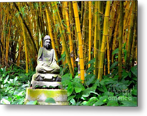 Buddha Metal Print featuring the photograph Buddha In The Bamboo Forest by Mary Deal