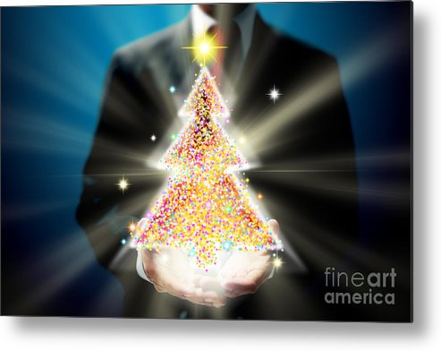 Business Metal Print featuring the mixed media Bussinessman With Christmas by Atiketta Sangasaeng