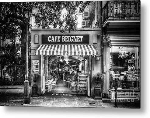 Nola Metal Print featuring the photograph Cafe Beignet Morning Nola - Bw by Kathleen K Parker