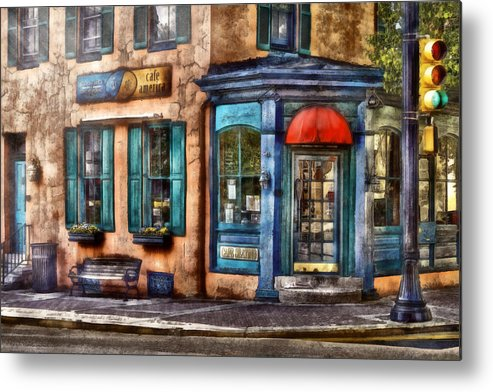 Savad Metal Print featuring the photograph Cafe - Cafe America by Mike Savad