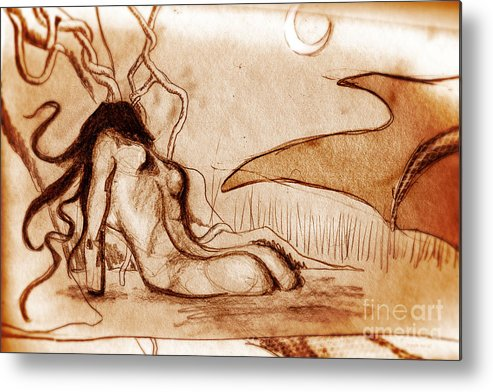 Jungian Metal Print featuring the drawing Calypso Number 2 by Christopher Moonlight