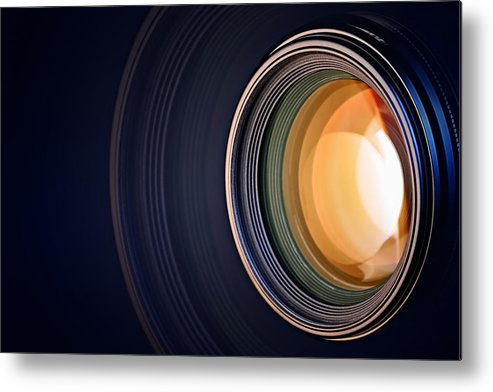 Lens Metal Print featuring the photograph Camera Lens Background by Johan Swanepoel