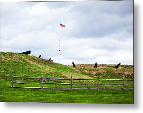 Fort Metal Print featuring the photograph Cannons And The Star Spangled Banner by Susan Schmitz