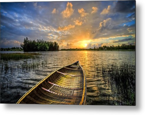 Boats Metal Print featuring the photograph Canoeing At Sunrise by Debra and Dave Vanderlaan