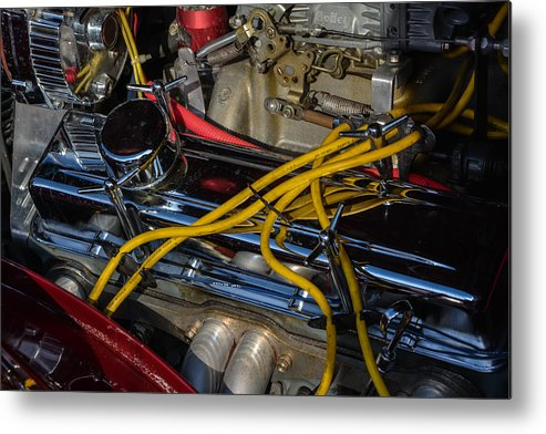 Car Metal Print featuring the photograph Car Engine by Mike Watts