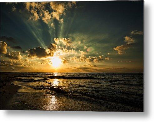 Water Metal Print featuring the photograph Caribbean Sunrise by Stuart Deacon