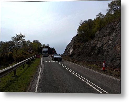 Canon Metal Print featuring the digital art Cartoon - Car And Truck Crossing A Road Repair Section Of Highway In Scotland by Ashish Agarwal