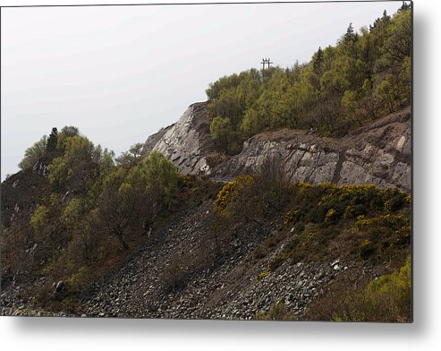 Canon Metal Print featuring the digital art Cartoon - Wire Mesh Holding Up A Crumbling Hillside In The Scottish Highlands by Ashish Agarwal