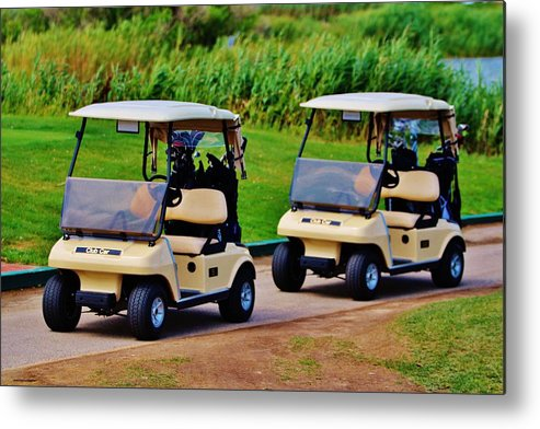 Golf Metal Print featuring the photograph Carts by Christopher Hoffman