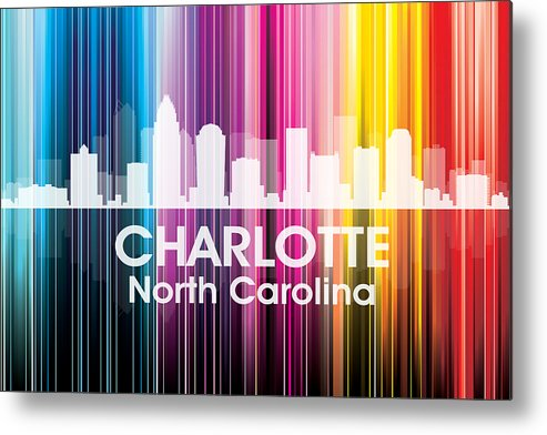 City Silhouette Metal Print featuring the mixed media Charlotte Nc 2 by Angelina Vick