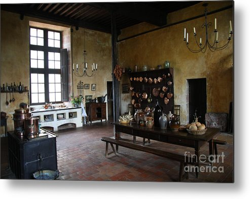 Palace Metal Print featuring the photograph Chateau De Cormatin Kitchen - Burgundy by Christiane Schulze Art And Photography