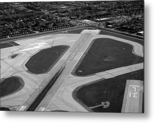 Midway Airport Metal Print featuring the photograph Chicago Airplanes 04 Black And White by Thomas Woolworth