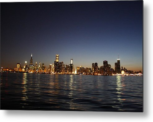 Skyline Metal Print featuring the photograph Chicago At Night by Shari Bailey