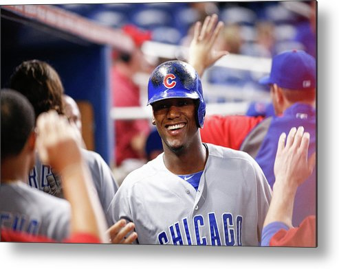 Second Inning Metal Print featuring the photograph Chicago Cubs V Miami Marlins by Rob Foldy