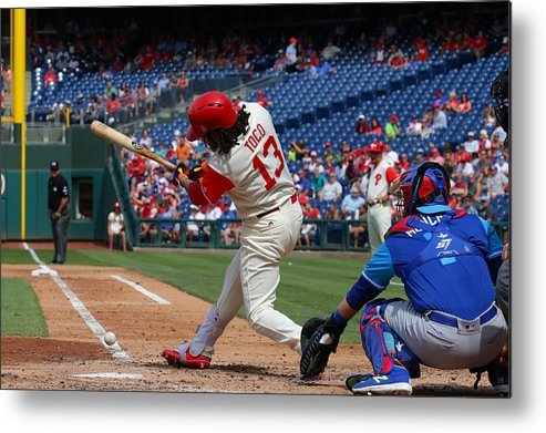 People Metal Print featuring the photograph Chicago Cubs V Philadelphia Phillies by Hunter Martin