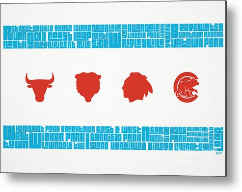 Chicago Metal Print featuring the mixed media Chicago Flag Sports Teams by Mike Maher