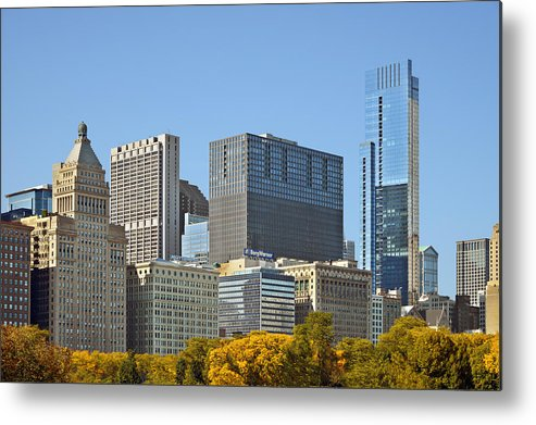 Metropolitan Metal Print featuring the photograph Chicago Skyline From Millenium Park II by Christine Till