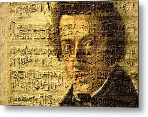 Classical Music Metal Print featuring the digital art Frederic Chopin by John Vincent Palozzi