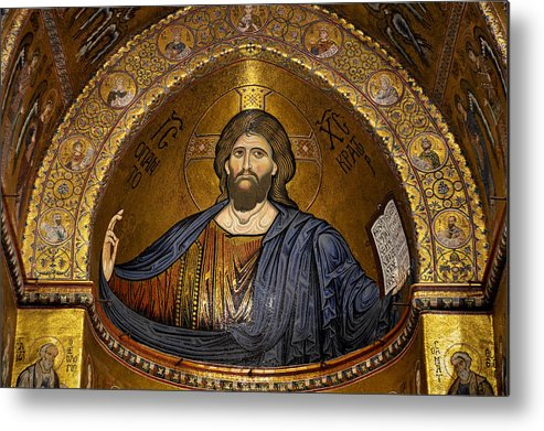 Christ Metal Print featuring the photograph Christ Pantocrator Mosaic by RicardMN Photography