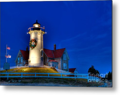Lighthouse Metal Print featuring the photograph Christmas By The Sea by Michael Petrizzo