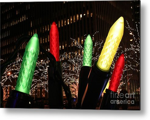 New York City Metal Print featuring the photograph Christmas Festive In New York City by Living Color Photography Lorraine Lynch