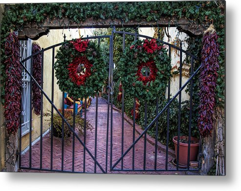 Old Town Albuquerque Metal Print featuring the photograph Christmas Gate by Diana Powell