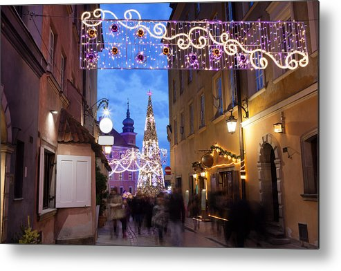 Warsaw Metal Print featuring the photograph Christmas Illumination On Piwna Street In Warsaw by Artur Bogacki