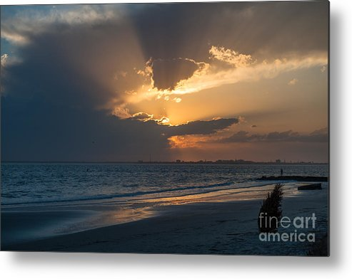 Sunset Metal Print featuring the photograph Christmas Tree On Beach by Dale Powell