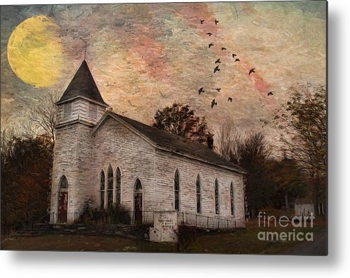 Church Metal Print featuring the painting Church In The Catskills by Deborah Benoit