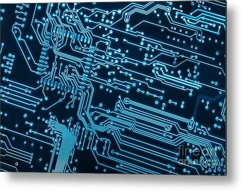 Abstract Metal Print featuring the photograph Circuit Board by Carlos Caetano