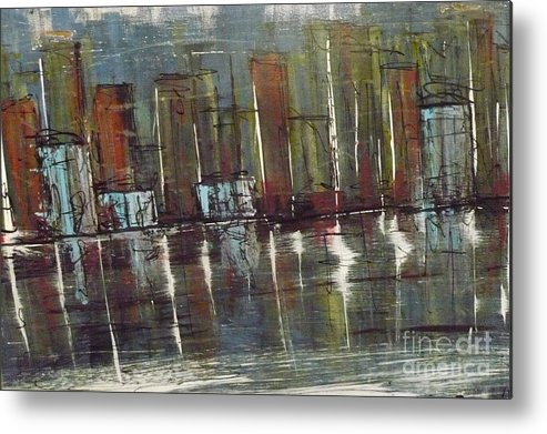 Metal Print featuring the painting City At Night by Daniel Dawson