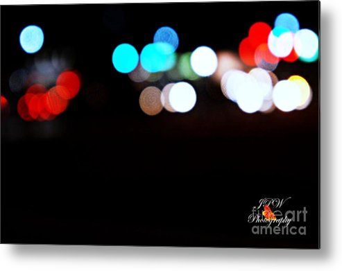 Traffic Metal Print featuring the photograph City Night Lights by Jannice Walker