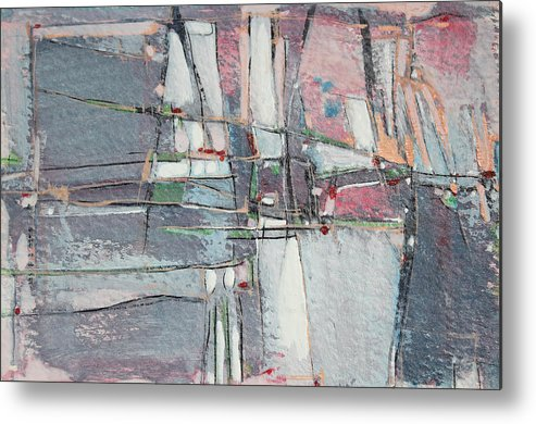 Abstract Painting Metal Print featuring the painting City Sidewalks by Hari Thomas