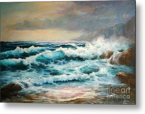 Seascape Metal Print featuring the painting Clear Aqua Waters by Gail Salitui