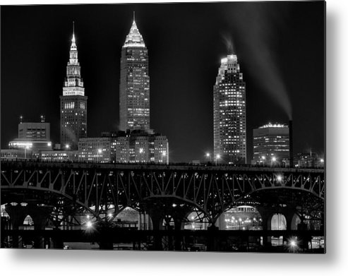 Cleveland Metal Print featuring the photograph Cleveland Black And White Night by Frozen in Time Fine Art Photography