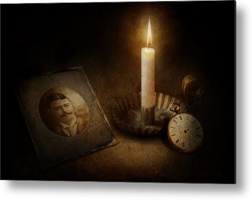 Hdr Metal Print featuring the photograph Clock - Memories Eternal by Mike Savad