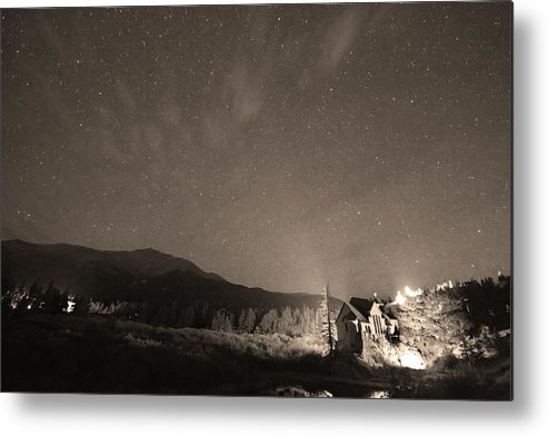 Chapel On The Rock Metal Print featuring the photograph Colorado Chapel On The Rock Dreamy Night Sepia Sky by James BO Insogna