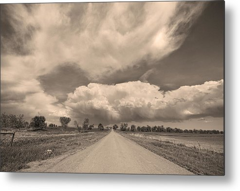 Road Metal Print featuring the photograph Colorado Country Road Sepia Stormin Skies by James BO Insogna