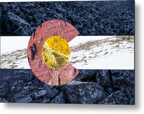 Colorado Metal Print featuring the photograph Colorado State Flag With Mountain Textures by Aaron Spong