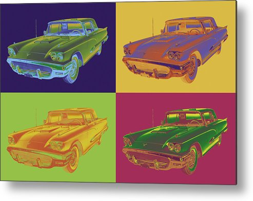 1958 Ford Thunderbird Metal Print featuring the photograph Colorful 1958 Ford Thunderbird Car Pop Art by Keith Webber Jr