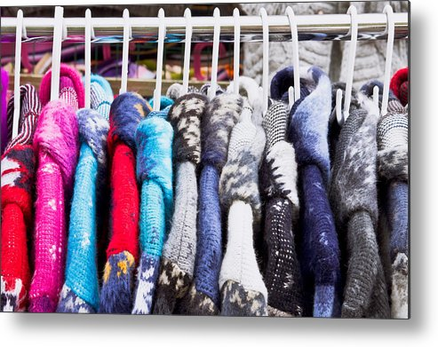 Blue Metal Print featuring the photograph Colorful Coats by Tom Gowanlock