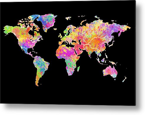 World Map Metal Print featuring the painting Colorful Watercolor World Map by Georgeta Blanaru