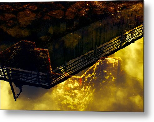 Abstract Metal Print featuring the photograph Colors Of The Sound Gold by Cathy Anderson