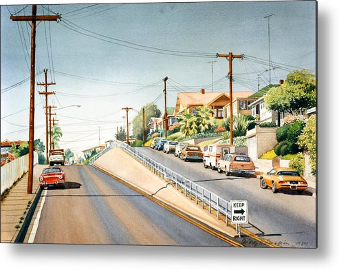 Columbia Street Metal Print featuring the painting Columbia Street Middletown by Mary Helmreich